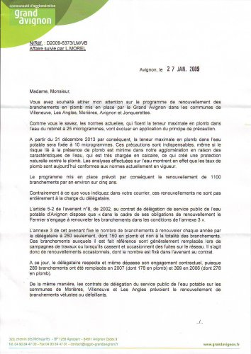 Le courrier du Grand Avignon au collectif (recto)