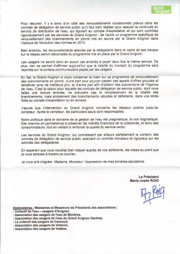 Le courrier du Grand Avignon au collectif (verso)